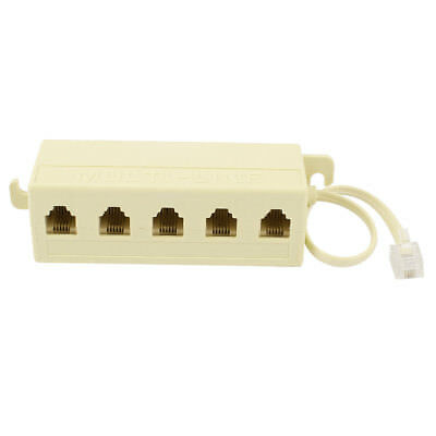 6P4C RJ11 5 Way Outlet Modular Jack Telephone Line Adapter Splitter Cable