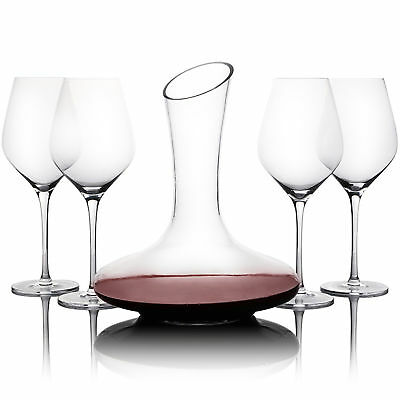 NEW 5 Piece Wine Glass & Decanter Set Gourmet Kitchen Decanters & Carafes