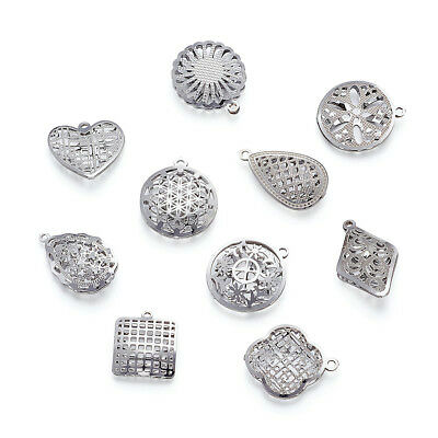 50pcs 304 Stainless Steel Hollow Pendants Filigree Mixed Shape Charms 16~43mm