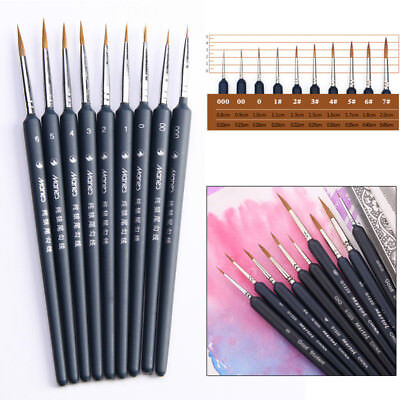 Pointed Tips Painting Brush Set Artist Miniature Paint Fine Detail Drawing Art