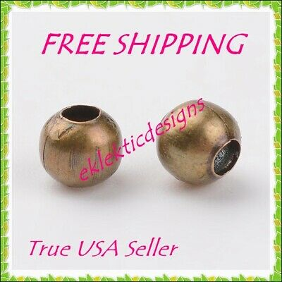 4mm 100 pc Antique Brass Bronze Metal Spacer Beads Jewelry Findings Necklace