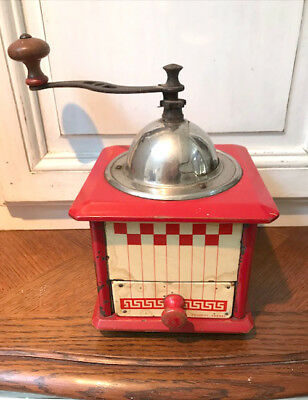 Vintage French Coffee Grinder Peugeot Freres - Red and White Check