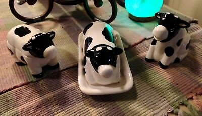 Vintage Set Of 3 Heifer Cows Ceramic Coffee Creamer, Sugar, Butter Dishes NICE!!