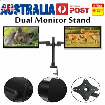 Dual Screen 14~27'' Computer Monitor Holder Desktop Mount Stand Bracket LED/LCD
