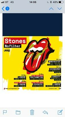 rolling stones tickets Manchester 5th June 2018 price for the two