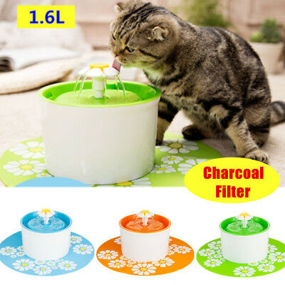 AU 1.6L Auto Drinking Fountain Flower Water Fountain Pet Drinking Bowl With Mat
