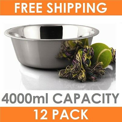 12 x  Stainless Steel Pet Dog Cat Puppy Food Water Bowls 4000ml Pet Feeding Bowl