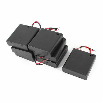 7 Pieces Black Cover Wires Lead 1.5V Battery Holder Case Box for 4x AA Batteries