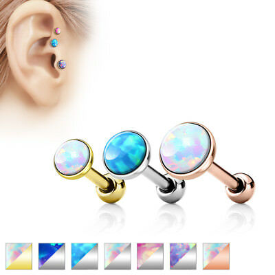 Cartilage Barbell Forward Helix Tragus Opal Triple 16g Surgical Steel 3/4/5mm