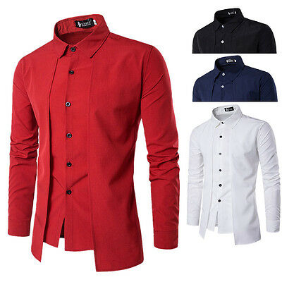 AU Men Shirts Long Sleeve Formal Luxury Business Slim Fit Solid Dress Shirt Tops