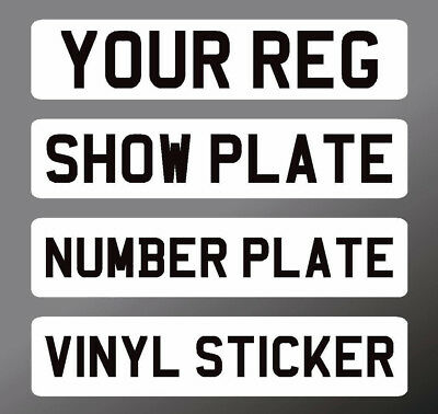 SELF ADHESIVE Stick on number plate front Sticker Classic Show Kit Car Cut Down