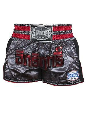 Sandee Supernatural  Power Muay Thai Boxing Shorts - Black/Carbon/Red