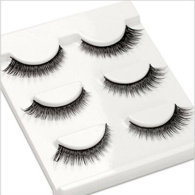 3pcs 3D Luxurious Real Mink Natural Cross Short Thick Eye Lashes False Eyelashes