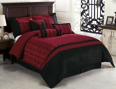 Chezmoi Collection Dynasty Jacquard 7-Piece Comforter Set, King, Black/Red