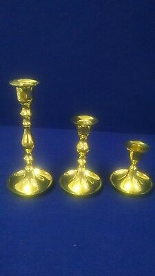3 Piece Set Of New, Old Stock, Brass Candlesticks / Candleholders / Round Base