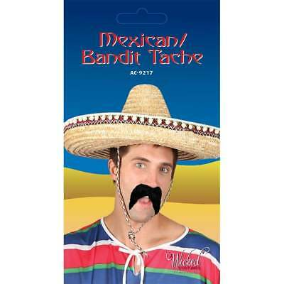 Mens Black Mexican Amigo Moustache Tash Fancy Dress Stick On Fake Facial Hair