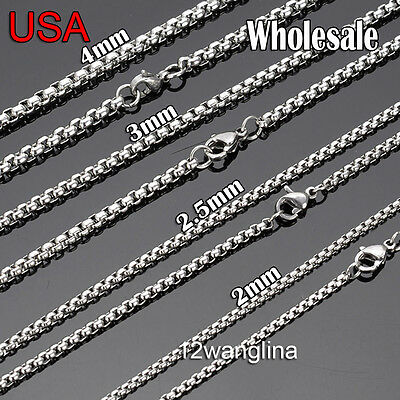 From USA ! Wholesale Lots Silver Stainless Steel Box Chain Necklace High Quality