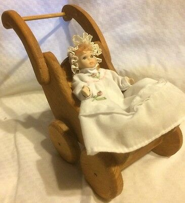 beautifully-crafted Wooden Stroller..with miniature baby doll