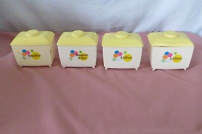 Vintage Baby Nursery Changing Table Set 4 Plastic Containers Lids, Swabs, Lotion
