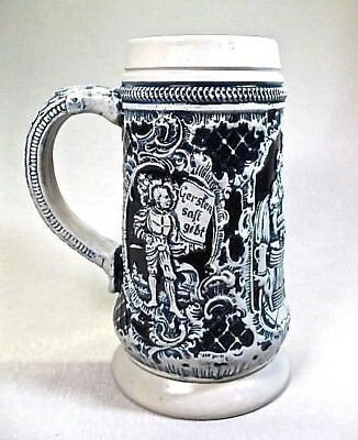 German Pottery Blue & Grey .. 18 Ounce Signed Beer Stein / Mug