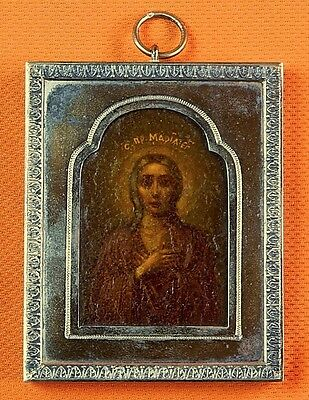 Antique 19 Century Imperial Russian Russia Mary Maria Icon Silver Frame