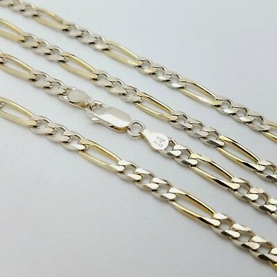 MILOR STERLING SILVER 925 Gold Plated Classic Figaro 24' in Chain Necklace  Italy