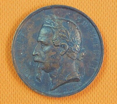 Antique French France Bronze 1868 Napoleon III Table Medal