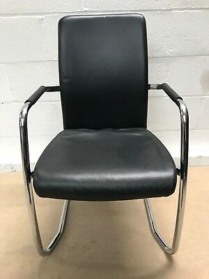 4x Black Leather Office Meeting Conference Visitor Chairs