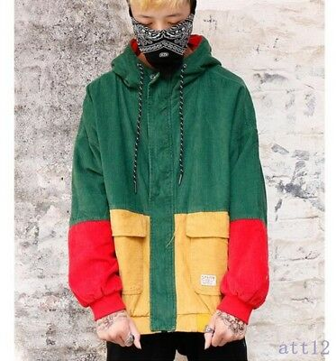 2019 New Fashion Occident Mens Fall Match Color Korea Jean Jackets Hooded Loose