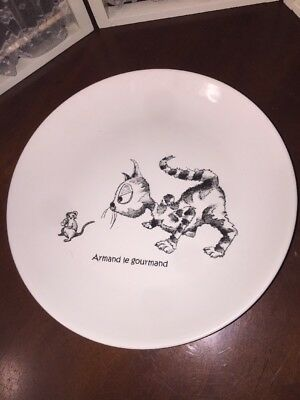 Cats of Paris PLATE MOUSE BIG EYED KITTY ARMAND THE GREEDY KISS THAT FROG WHIMSY