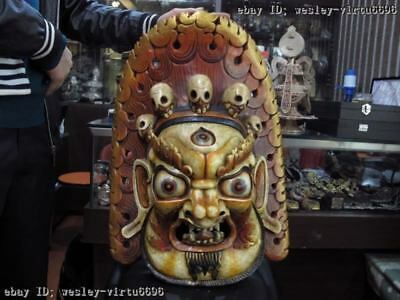 Nepal Folk Buddhism Wood handwork Carve Painted Mahakala Buddha Head mask Statue