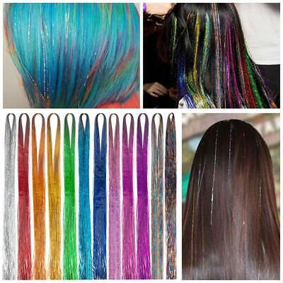 "200 Strands Holographic Sparkle Hair Tinsel Glitter Extensions Dazzles 48"" Long"