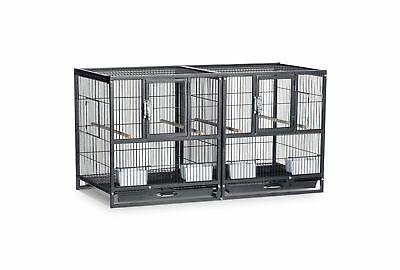 Prevue Pet Products Hampton Deluxe Divided Breeder Cage Black Hammertone