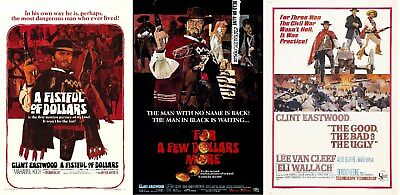 VINTAGE CLINT EASTWOOD DOLLARS TRILOGY Movie Posters Film Cinema Decor A3 A4