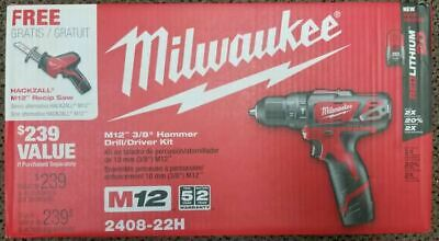 Milwaukee M12 3/8 Hammer DrIll Driver Kit 2408-22 with Hacksaw 2420-20