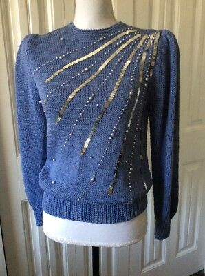 Gorgeous Vintage Hand knit Sequins 80s Sweater Jem Party Costume Dynasty Dallas