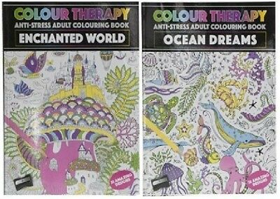 Pack of 2 A4 Adult Colouring Books: Enchanted World & Ocean Dreams Designs