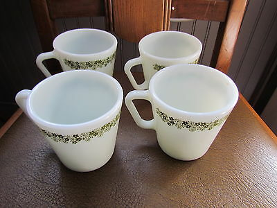 Vintage Pyrex  Corning Corelle  D Handle Spring Blossom Green & White  4 Mugs