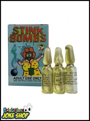 Glass Stink Bombs Adults Stag Practical Jokes, Pranks, Gags 3 x Stink Bombs Box