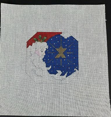Hand Painted Needlepoint Canvas Santa and North Star 8.5x8.5 #18 Discontinued