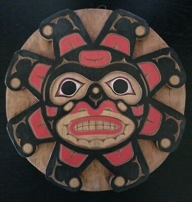 Haida Hand Carved and Painted Wood Disc
