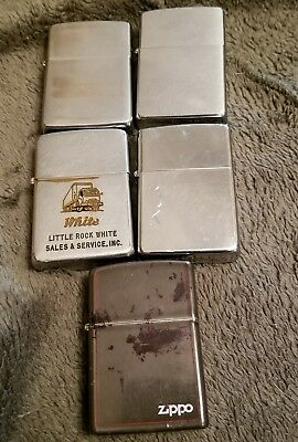 Lot of 5 Vintage Zippo Cigarette Lighters