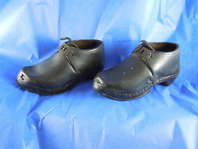 Antique Victorian Child's Hand Made Clogs Leather Shoes Wood & Iron Soles