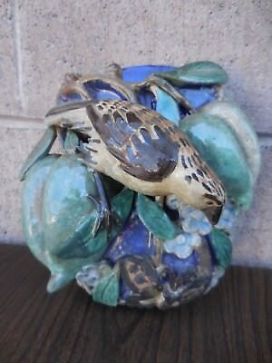 Antique Chinese Wall Pocket Vase - Bird In Fruit Tree 18Th-19Th Century?