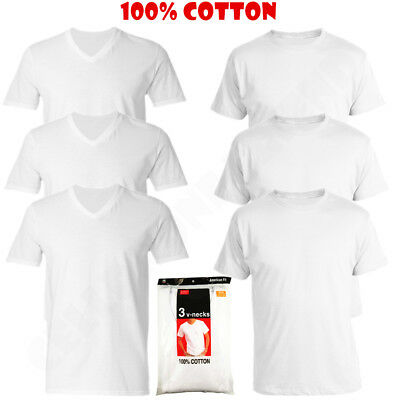 3 Pack Men's V/Crew Neck 100% Cotton Tagless T-Shirt Undershirt Tee White S-XL