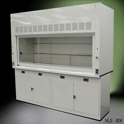 8' Chemical Laboratory Fume Hood WITH GENERAL STORAGE CABINETS -