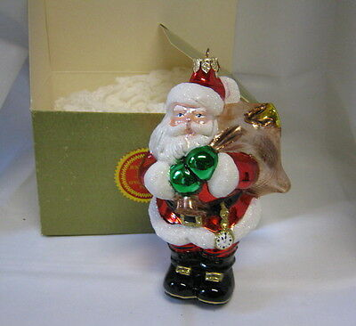 NEW Polonaise Kurt Adler Just In time Santa Glass Special Event Xmas Ornament