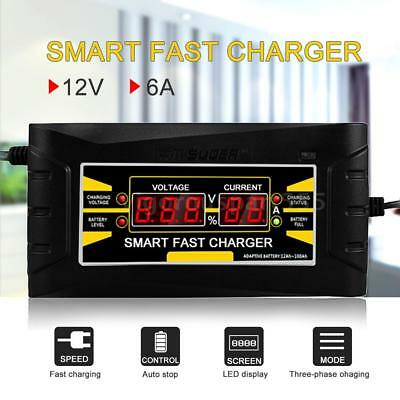 12V 6A 150V-250V Car Motorcycle LCD Smart Fast Lead-acid Battery Charger