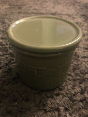 Longaberger Pottery Sage Green  Salt Candle Holder Crock 1 Pint w Lid Coaster