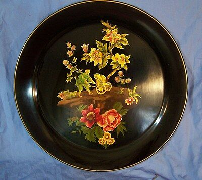 Antique Vintage Painted Tole Painted Toleware Tray FIGURE / FLOWERS nice!